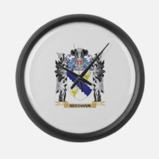 Needham Coat of Arms - Family Cre Large Wall Clock