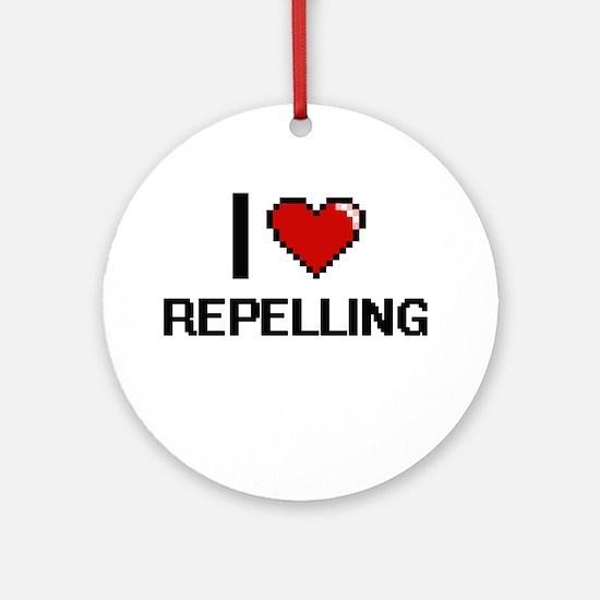 I Love Repelling Digital Design Round Ornament