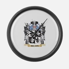 Nelson- Coat of Arms - Family Cre Large Wall Clock
