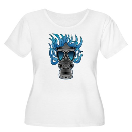 Gas Mask Blue @ eShirtLabs Women's Plus Size Scoop