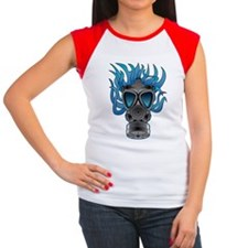 Gas Mask Blue @ eShirtLabs Women's Cap Sleeve T-Sh