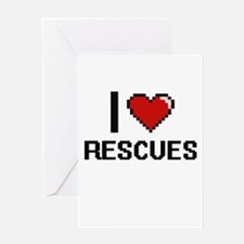 I Love Rescues Digital Design Greeting Cards