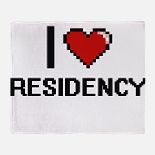 I Love Residency Digital Design Throw Blanket