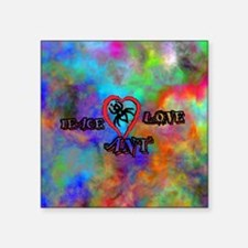 "peace ant love tie dye Square Sticker 3"" x 3"""