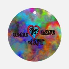 peace ant love tie dye Round Ornament