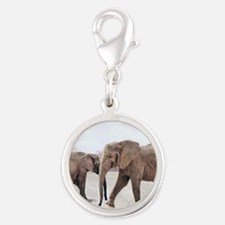 The Elephants Silver Round Charm