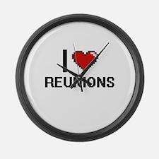 I Love Reunions Digital Design Large Wall Clock