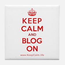 Cute Keep calm and blog on Tile Coaster