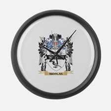 Nicolas Coat of Arms - Family Cre Large Wall Clock