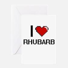 I Love Rhubarb Digital Design Greeting Cards