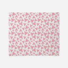 Pretty Pink Flowers Pattern Throw Blanket