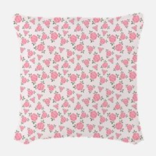 Pretty Pink Flowers Pattern Woven Throw Pillow