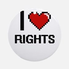 I Love Rights Digital Design Round Ornament