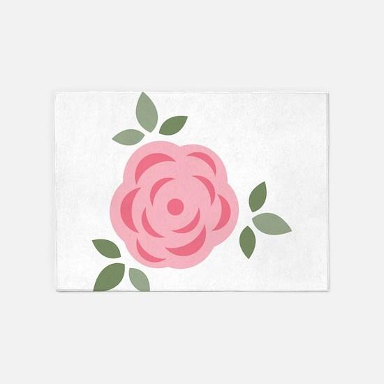 Pink Flower 5'x7'Area Rug