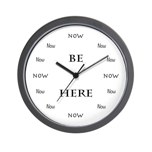 Be Here Now Time Wall Clock by aliceflynn