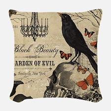 Modern vintage Halloween Woven Throw Pillow