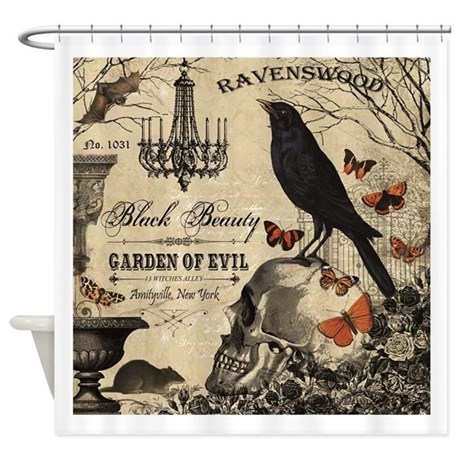 Modern Vintage Halloween Shower Curtain By