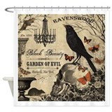Modern vintage halloween Shower Curtains