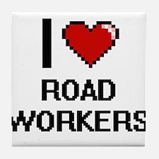 I Love Road Workers Digital Design Tile Coaster