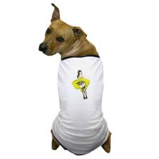Windy Day Girl - Yellow Dress Dog T-Shirt