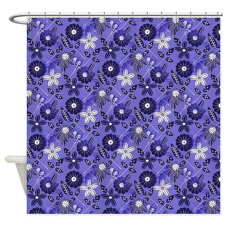 Blue Tropical Floral Shower Curtain