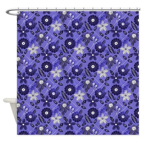 Blue Tropical Floral Shower Curtain