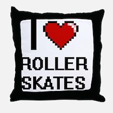 I Love Roller Skates Digital Design Throw Pillow