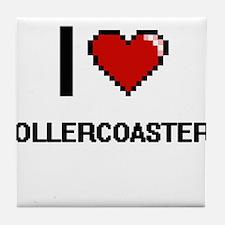 I Love Rollercoasters Digital Design Tile Coaster