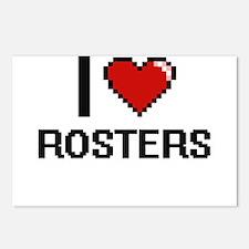 I Love Rosters Digital De Postcards (Package of 8)