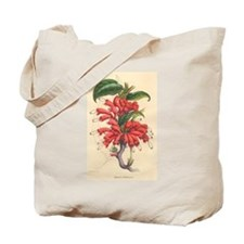 Antique Botanical--Red Flowers Tote Bag