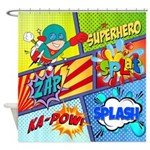 Comic Book Superhero Shower Curtain
