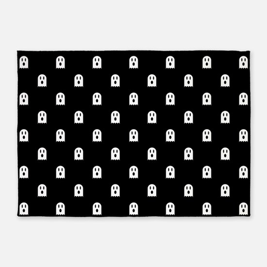 Scary Halloween Ghost Polka Dot Pat 5'x7'Area Rug
