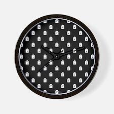 Scary Halloween Ghost Polka Dot Pattern Wall Clock