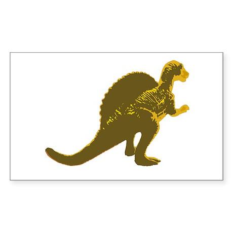 Retro Gold Spinosaurus Rectangle Sticker