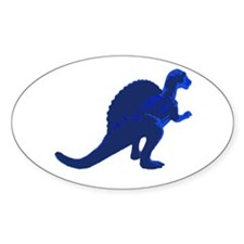 Retro Blue Spinosaurus Oval Decal