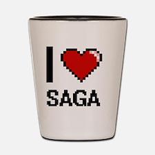 I Love Saga Digital Design Shot Glass
