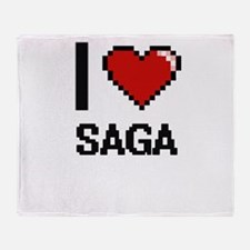 I Love Saga Digital Design Throw Blanket