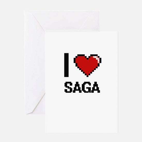I Love Saga Digital Design Greeting Cards