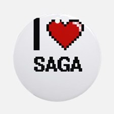I Love Saga Digital Design Round Ornament