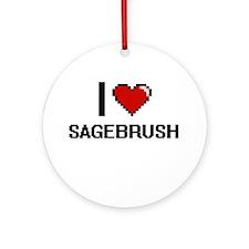 I Love Sagebrush Digital Design Round Ornament
