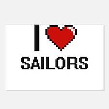 I Love Sailors Digital De Postcards (Package of 8)