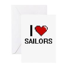I Love Sailors Digital Design Greeting Cards