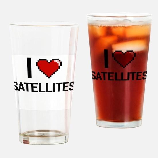 I Love Satellites Digital Design Drinking Glass