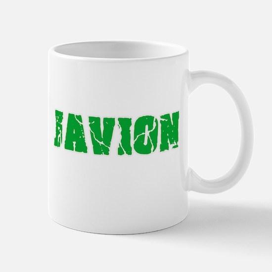 Javion Name Weathered Green Design Mugs