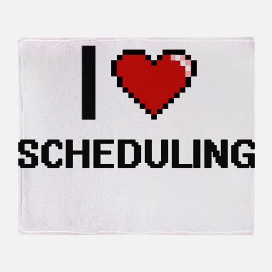 I Love Scheduling Digital Design Throw Blanket