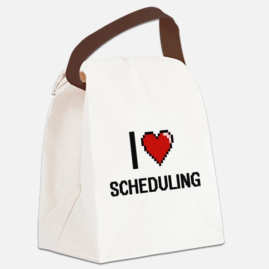 I Love Scheduling Digital Design Canvas Lunch Bag
