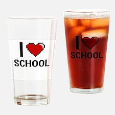 I Love School Digital Design Drinking Glass