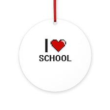 I Love School Digital Design Round Ornament