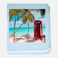 Red public Telephone Booth on Antigua baby blanket