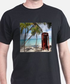 Red public Telephone Booth on Antigua T-Shirt